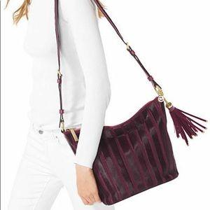 michael kors brooklyn applique purple velvet bag